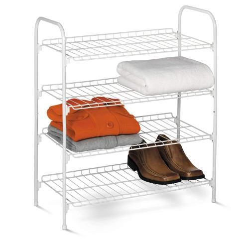 Durable 4 Tier Freestanding Shoe Rack with Handles