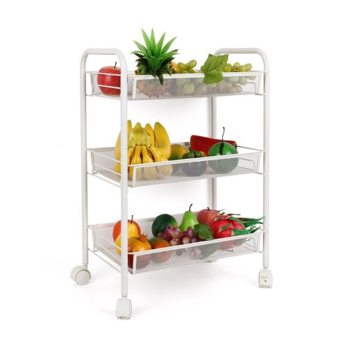 3 Tier Metal Multifunction Rolling Storage Cart with Handle