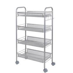 4 Tier Rolling Storage Cart with Handle and Hooks