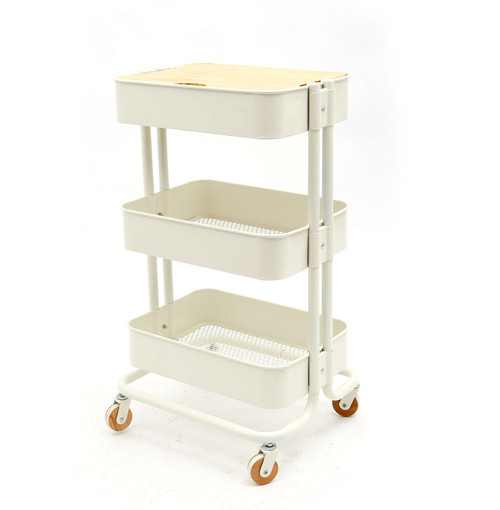Metal Storage Rack With Wheels 3 Layers Organizer With Wooden Panel