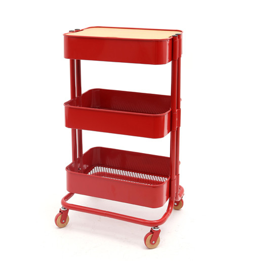 3 Tier Metal Rolling Storage Cart with Mesh Top