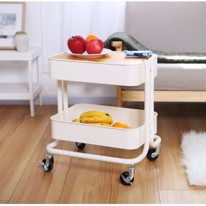 2 Tier Metal Rolling Storage Cart with Mesh Top