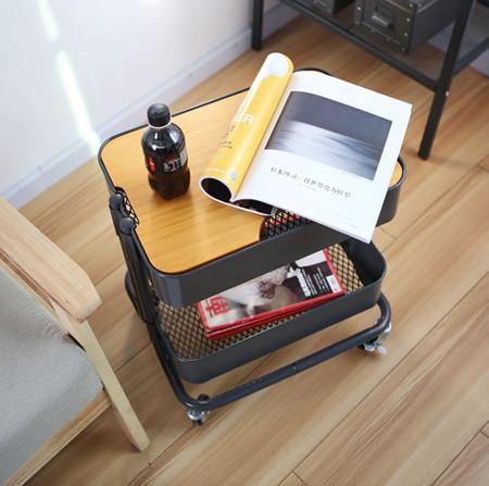 2 Tier Metal Rolling Storage Cart with Mesh Top