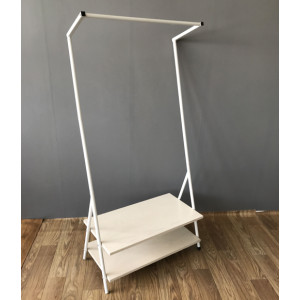 Single Rod Garment Rack with 2 Tier Shoe Bench