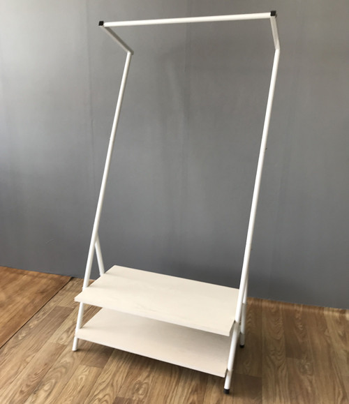 Single Rod Garment Rack with 2 Tier Shoe Bench