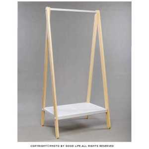 Single Rod Garment Rack with Shoe Bench