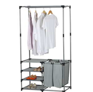Heavy Duty Garment Rack with 4-tier shoe bench and 2 Storage Organizers