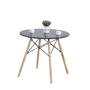 Modern Round Table with Black Table Top and 4 Wooden Legs