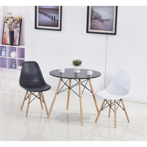 Modern Round Table with Black Top with Modern Wooden Chair
