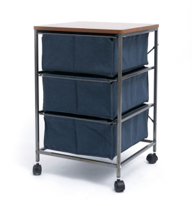 3 Drawer Storage Organizer Rolling Cart with Board