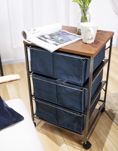 3 Drawer Storage Organizer Rolling Cart with Board