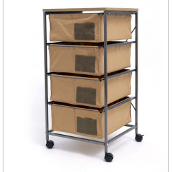 4 Drawer Storage Organizer Rolling Cart with Board