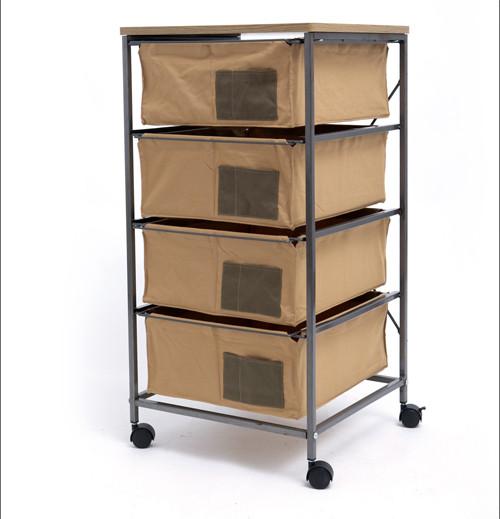4 Drawer Storage Organizer Rolling Cart with Board
