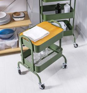 Metal Movable Serving Trolley Cart with Handle