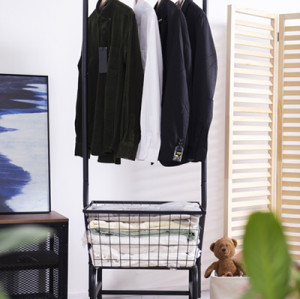 Rolling Clothing Garment Rack with Single Rod and Basket