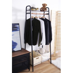Heavy Duty Garment Rack with Single Rod and Top Basket