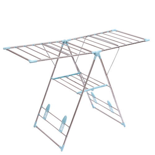 2020 Trending Three Floor Drying Rack For Garments With Movable Foldable Hanger