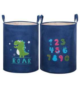 Wholesale Moisture Proof Canvas Polyester Kids Toy Folding Storage Bucket