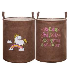 Capacity Cartoon Print Fabric Hamper Canvas Laundry Basket With Handles