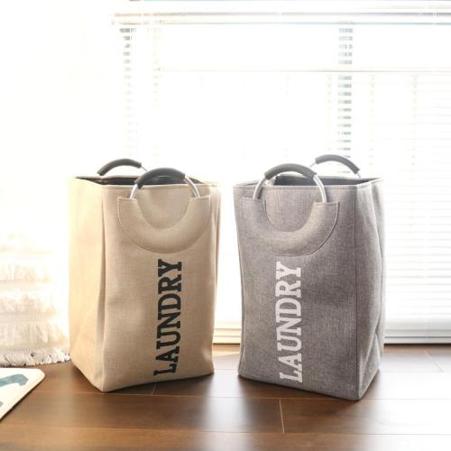Custom Portable Metal Handle 42L Capacity Linen Folding Laundry Basket