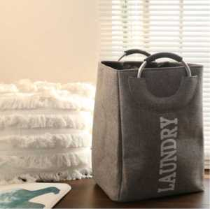 Custom Portable Metal Handle 42L Capacity Linen Folding Laundry Basket