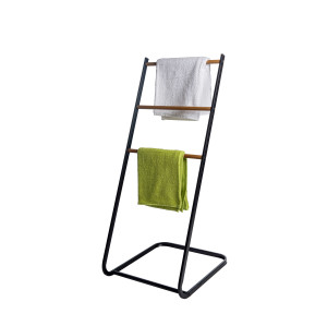 3 Tier Towel Holder Rack With Wood Shelves Standing Towel Rack