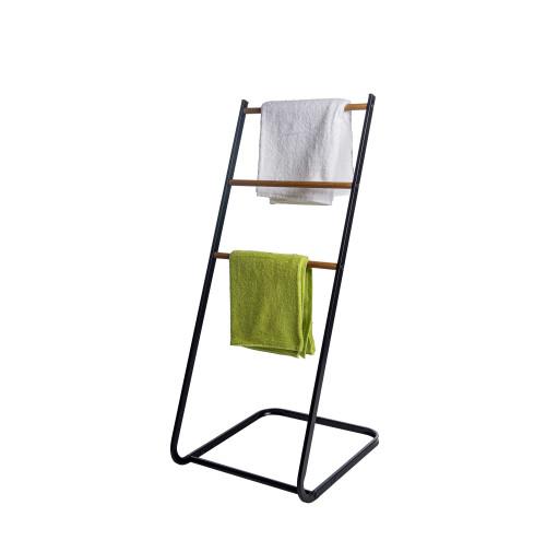 3 Tier Towel Holder Rack With Wood Shelves Standing Towel Rack