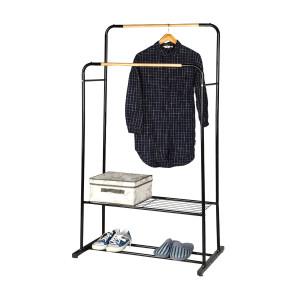 Garment Rack With Wood Shelves Double Pole Clothes Rack