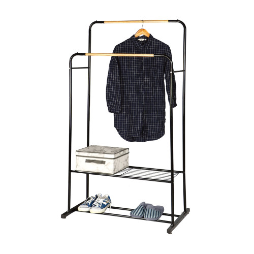 Garment Rack With Wood Shelves Double Pole Clothes Rack