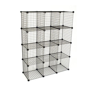 DIY 12 Cubes Closet Cabinet Wire Shelf Simple Metal Storage Stacking Racks