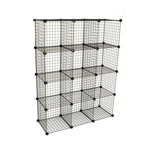 DIY 12 Cubes Closet Cabinet Wire Shelf Simple Metal Storage Stacking Racks