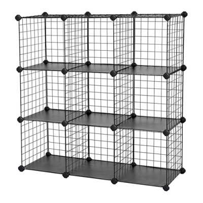 DIY 9 Cubes Closet Cabinet Wire Shelf Simple Metal Storage Stacking Racks