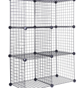 DIY 6 Cubes Closet Cabinet Wire Shelf Simple Metal Storage Stacking Racks