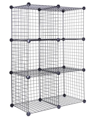 DIY 6 Cubes Closet Cabinet Wire Shelf Simple Metal Storage Stacking Racks