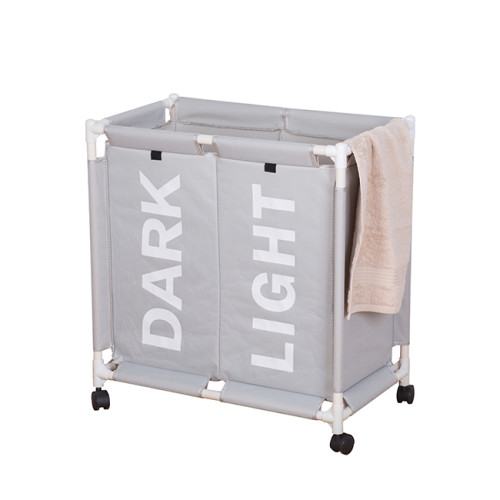 147L 2 Lattice With Wheel Plastic Fabric Trolley Basket With Lid