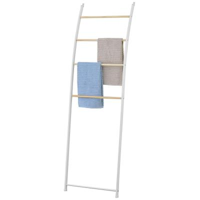 Trapezoid With Wood Shelves Wall-Mounted Towel Drying Rack
