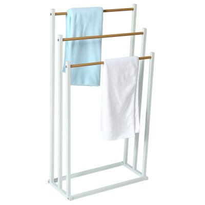 3 Tier Hanging Drying Holder With Wood Shelves Towel+Racks