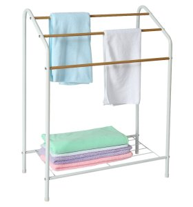Standing Wood Wire Metal Bathroom Shelf Floor Drying Towel Holder Rack