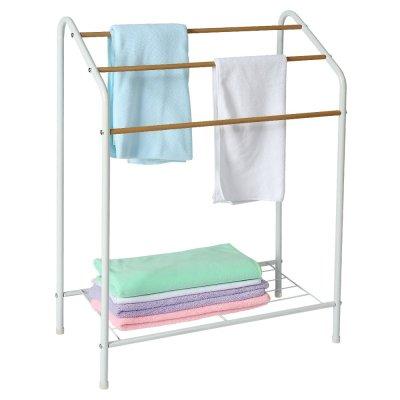 Standing Wood Wire Metal Bathroom Shelf Floor Drying Towel Holder Rack
