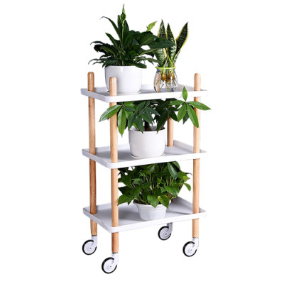 Bamboo Block Wood Tea Side Table 3 Layers Serving Trolley Cart