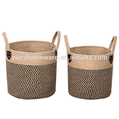 Set Of 2 Pack Basket Flower Pots Planter For Plants, Storage, Crafts