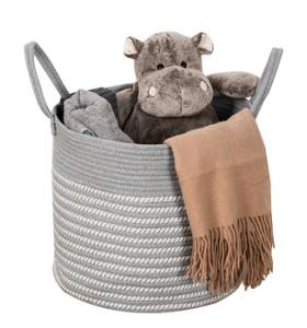 Handmade Foldable Storage Woven Cotton Rope Basket