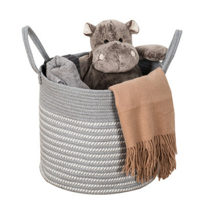Handmade Foldable Storage Woven Cotton Rope Basket