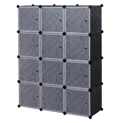 12 Cubes Space-Saving Multifunction Sturdy Plastic Organizer Storage Shelves