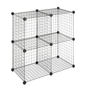 DIY 4 Cubes Closet Cabinet Wire Shelf Simple Metal Storage Stacking Racks