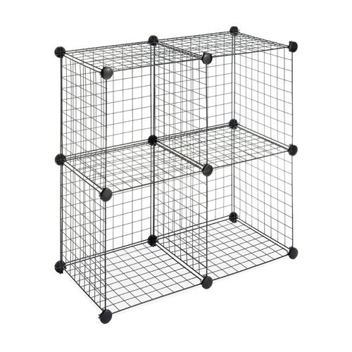 DIY 4 Cubes Closet Cabinet Wire Shelf Simple Metal Storage Stacking Racks