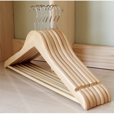 Factory Wholesale Natural Color Clothing Wood Hanger With Swivel Hook
