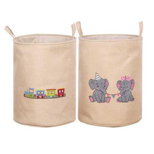 45L Capacity Cartoon Print Fabric Handles Basket Canvas Laundry Hamper