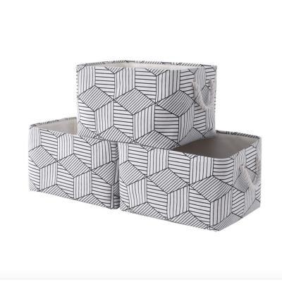 Cotton And Linen Cloth Bin /Box Decorative Storage Basket With String