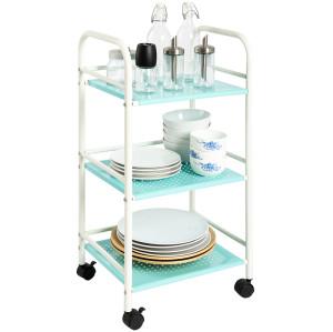 3 Tier Powder Coated Storage Rack Rolling Metal Bathroom & Kitchen Cart